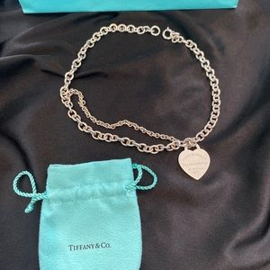 Tiffany & Co Silver Heart Double Chain 17 Necklace